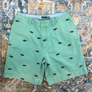 "J.Crew Green Embroidered Fish Critter 9"" Short -34"